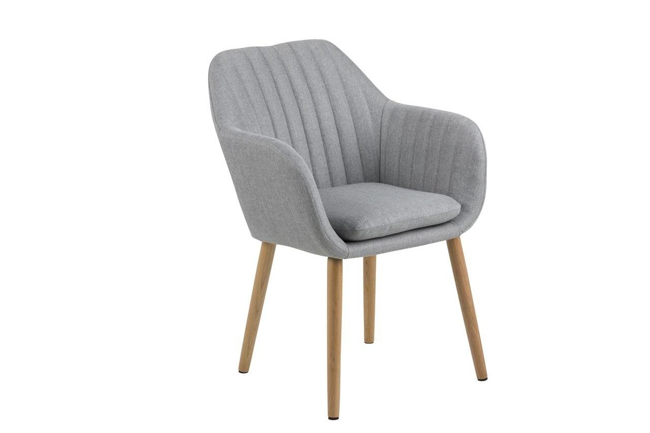 Scaun tapitat cu stofa si picioare din lemn Emilia II Gri Deschis / Stejar, l57xA61xH83 cm