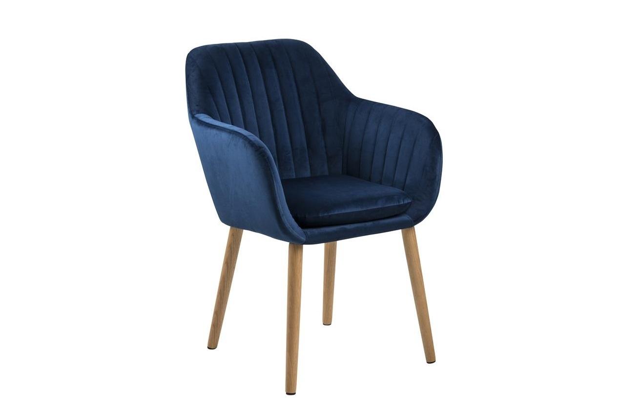 Scaun tapitat cu stofa si picioare din lemn Emilia Velvet Bleumarin / Stejar, l57xA61xH83 cm imagine