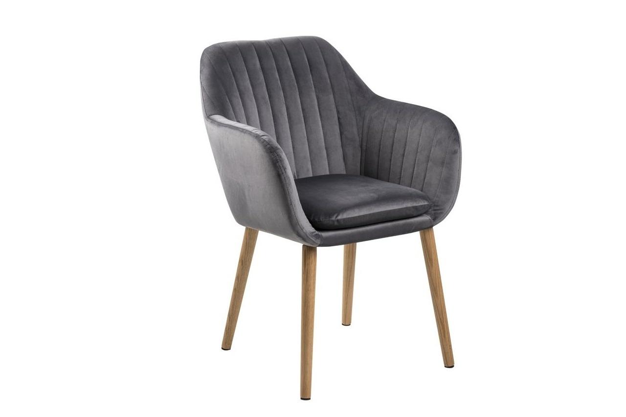 Scaun tapitat cu stofa si picioare din lemn Emilia Velvet Gri Inchis / Stejar, l57xA61xH83 cm