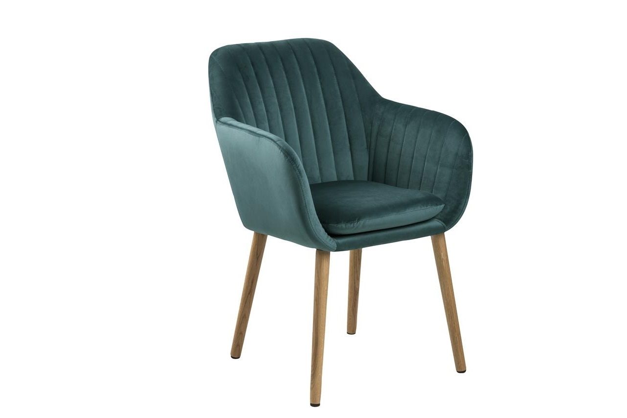 Scaun tapitat cu stofa si picioare din lemn Emilia Velvet Petrol / Stejar, l57xA61xH83 cm