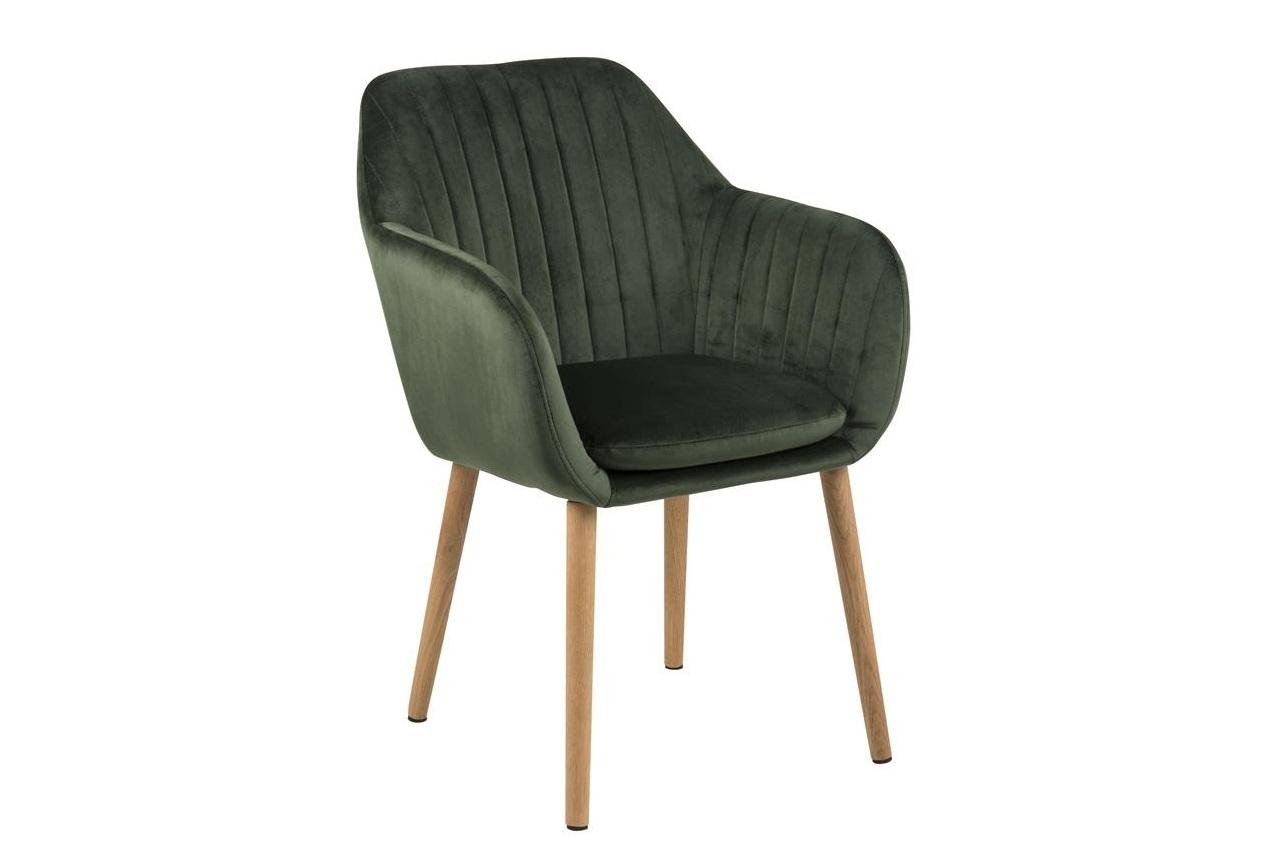 Scaun tapitat cu stofa si picioare din lemn Emilia Velvet Verde / Stejar, l57xA61xH83 cm