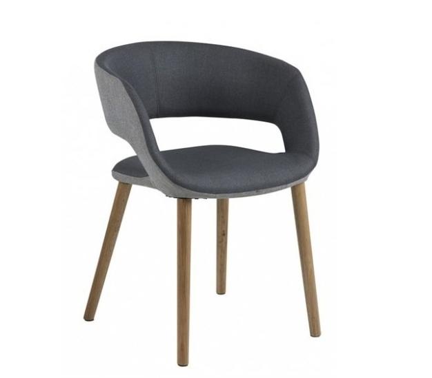 Scaun tapitat cu stofa si picioare din lemn Grace Gri Inchis / Gri Deschis, l56xA52xH76 cm imagine