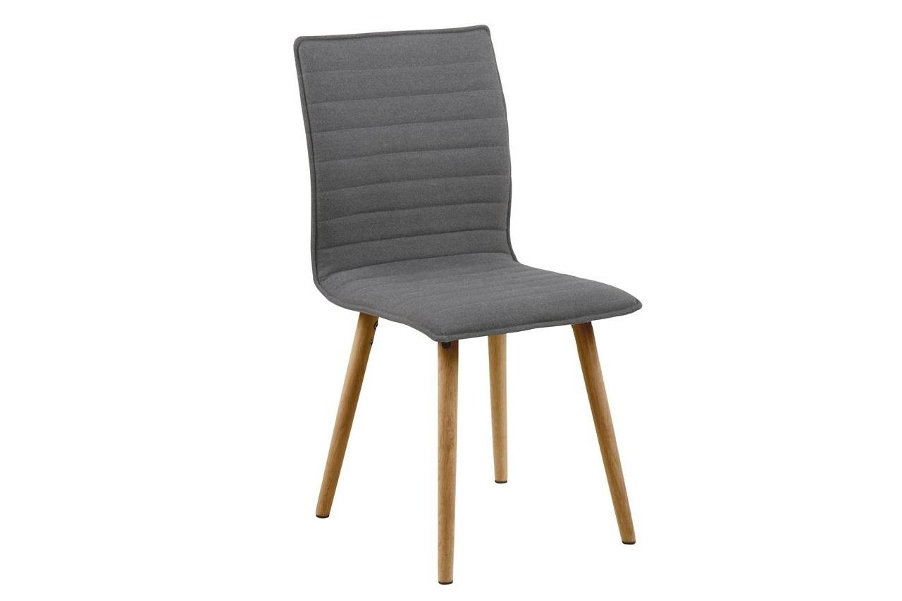 Scaun tapitat cu stofa si picioare din lemn Karla Gri Deschis / Stejar, l44xA55,5xH88 cm