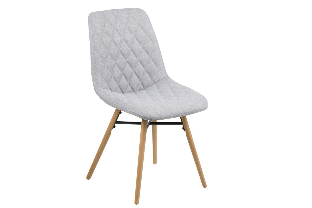 Scaun tapitat cu stofa si picioare din lemn Lif Gri Deschis / Stejar, l46xA57xH85 cm
