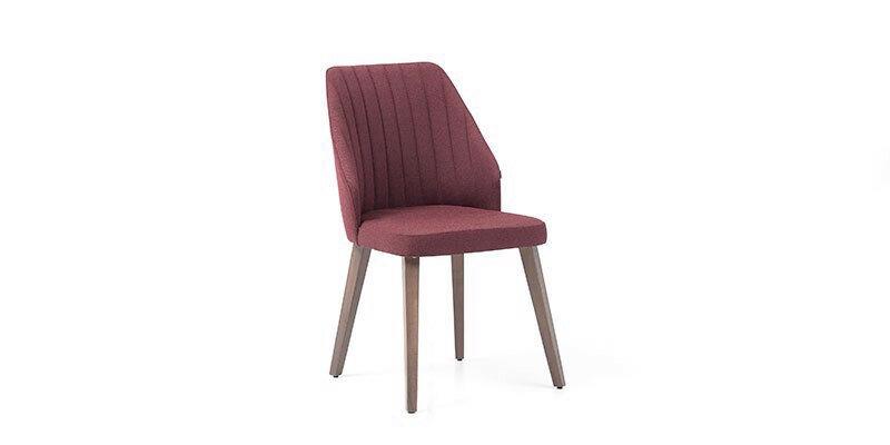 Scaun tapitat cu stofa si picioare din lemn Louisa Bordeaux / Nuc, l60xA48xH85 cm imagine