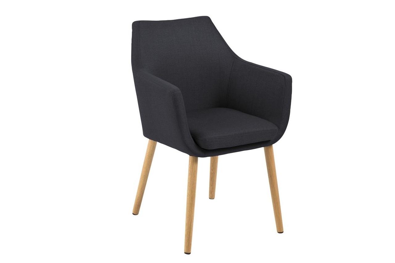Scaun tapitat cu stofa si picioare din lemn Nora Antracit / Stejar, l58xA58xH84 cm