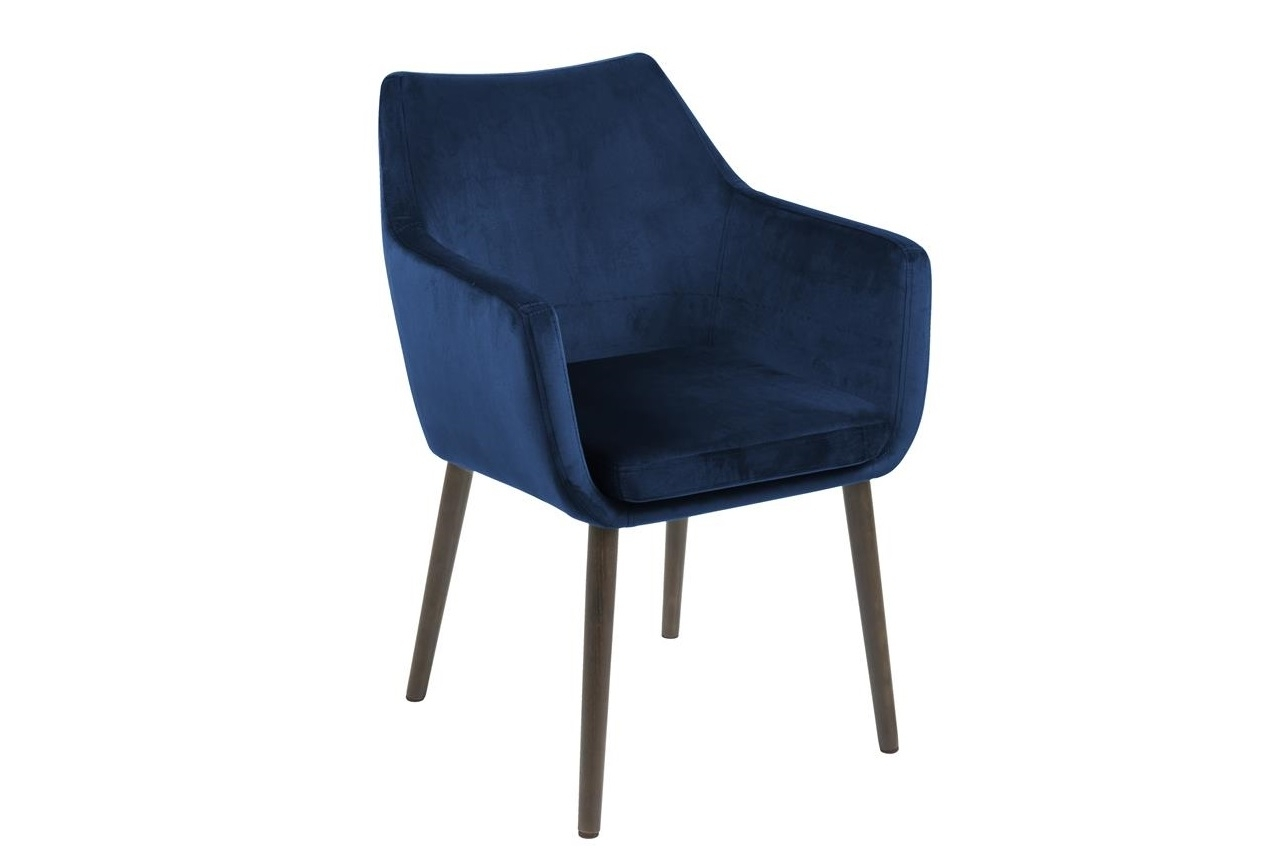 Scaun tapitat cu stofa si picioare din lemn Nora Velvet Bleumarin / Maro, l58xA58xH84 cm imagine