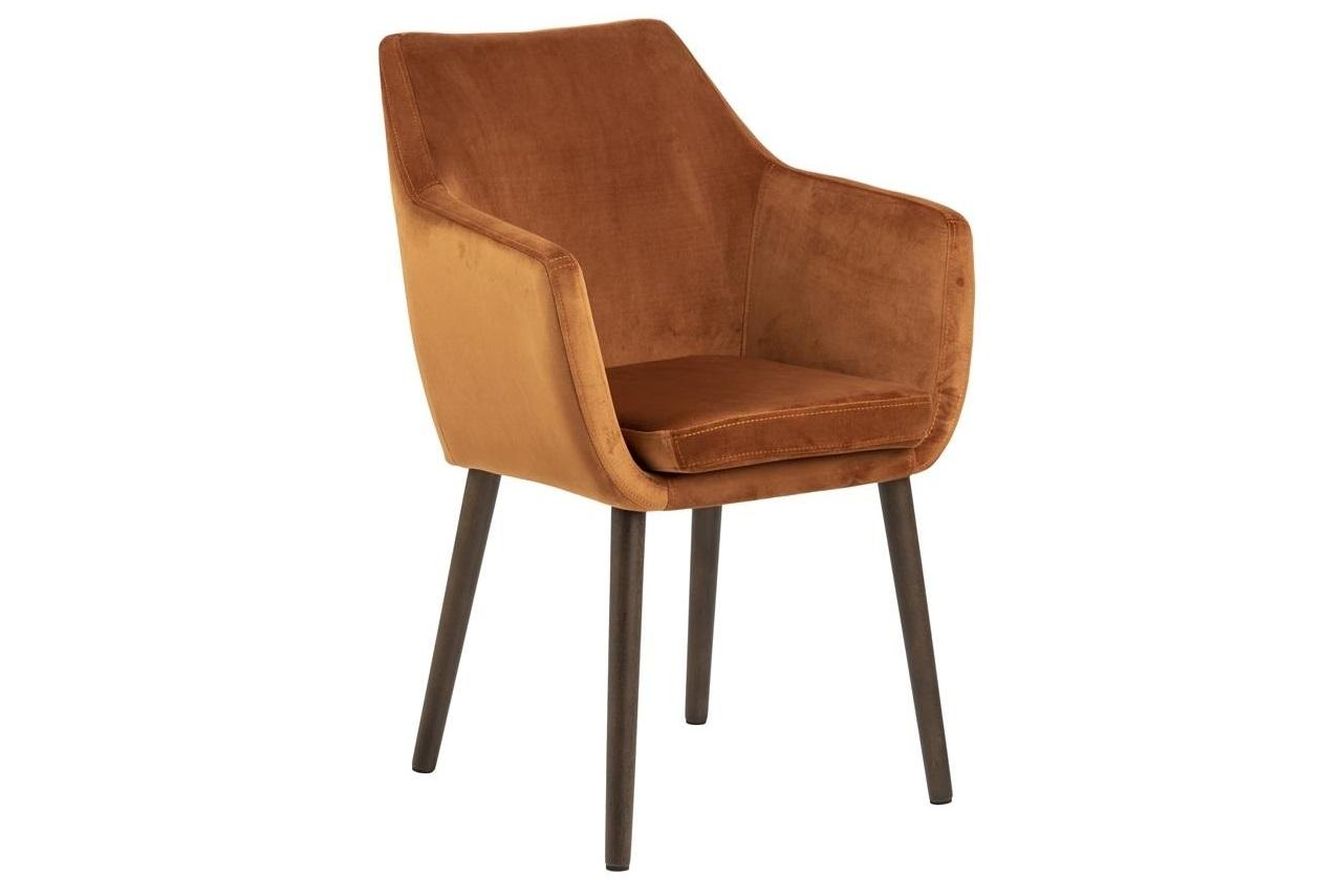 Scaun tapitat cu stofa si picioare din lemn Nora Velvet Caramiziu / Maro Inchis, l58xA58xH84 cm