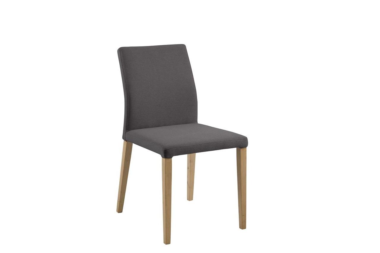Scaun tapitat cu stofa si picioare din lemn Zina Gri Inchis / Stejar, l47,5xA58xH87,5 cm poza