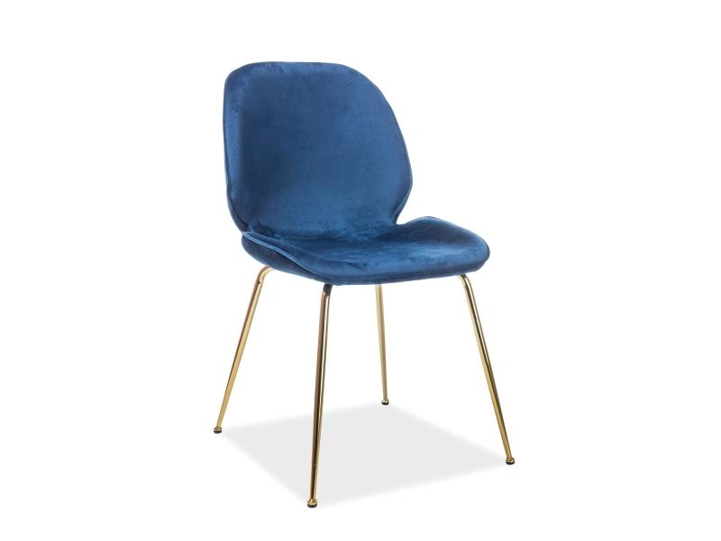 Scaun tapitat cu stofa si picioare metalice Alegria Velvet Albastru inchis / Auriu, l50xA42xH87 cm