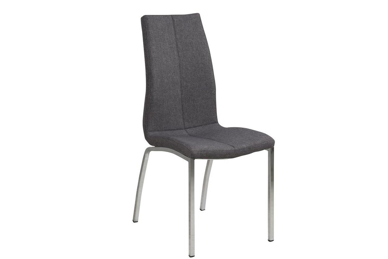 Scaun tapitat cu stofa si picioare metalice Asama Gri / Crom, l43,5xA57xH95 cm