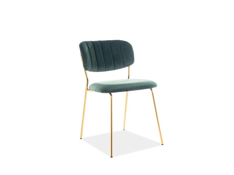 Scaun tapitat cu stofa si picioare metalice Carlo I Velvet Verde / Auriu, l48xA55xH79 cm