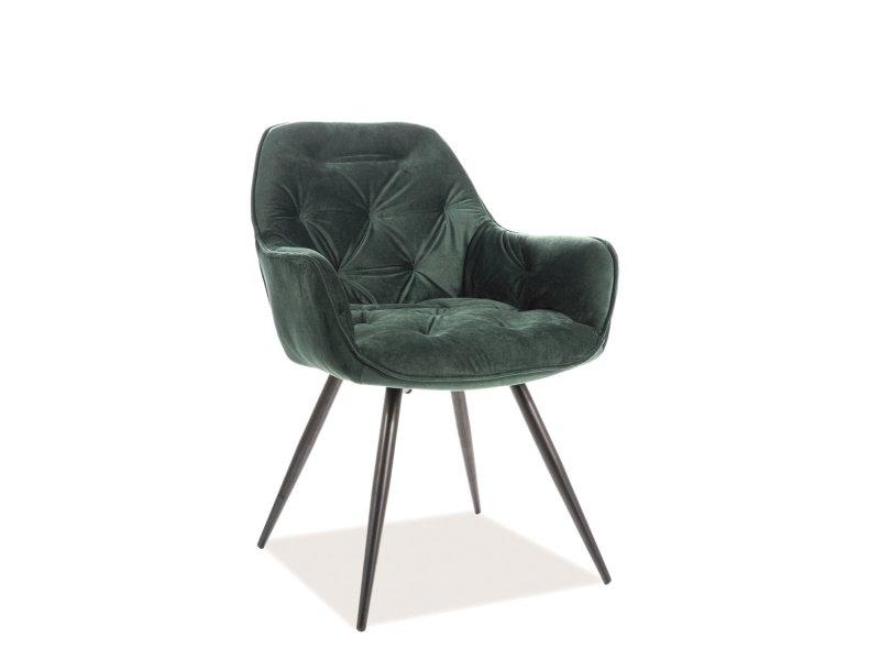 Scaun tapitat cu stofa si picioare metalice Cherry Velvet Verde / Negru, l45xA44xH83 cm