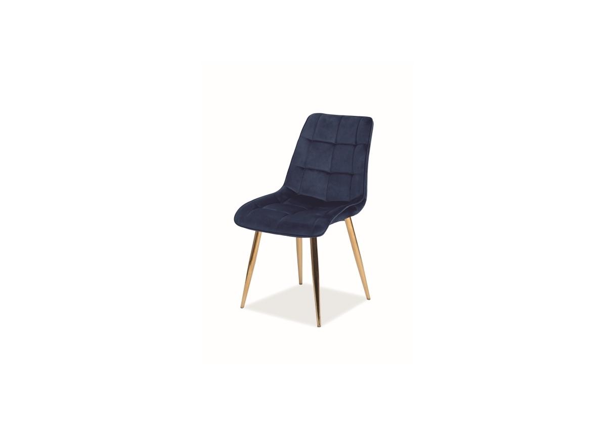 Scaun tapitat cu stofa si picioare metalice Chic Velvet Bleumarin / Auriu, l50xA47xH88 cm imagine