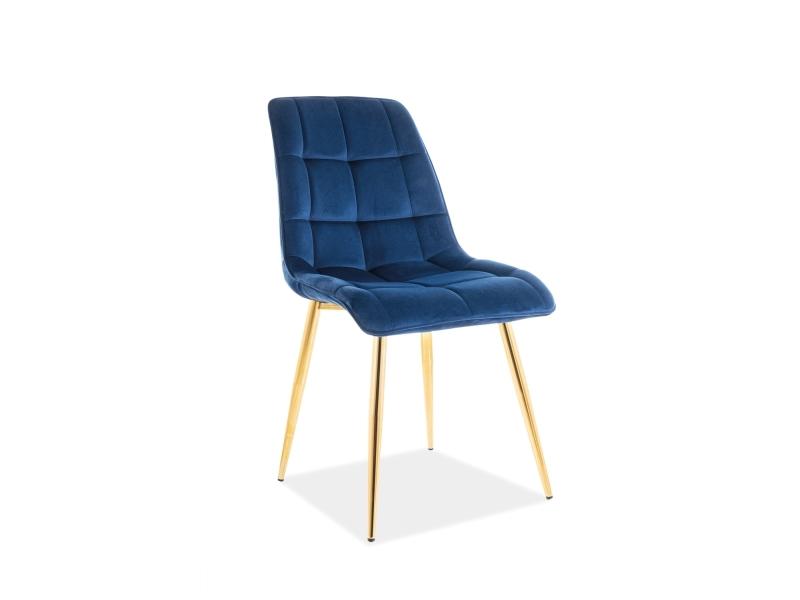 Scaun tapitat cu stofa si picioare metalice Chic Velvet Bleumarin / Auriu, l50xA47xH88 cm somproduct.ro