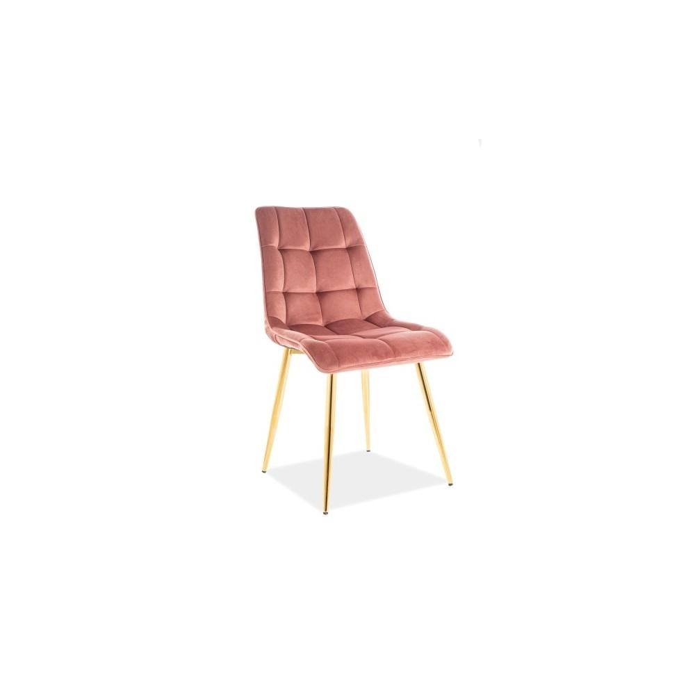 Scaun tapitat cu stofa si picioare metalice Chic Velvet Roz / Auriu, l50xA47xH88 cm imagine