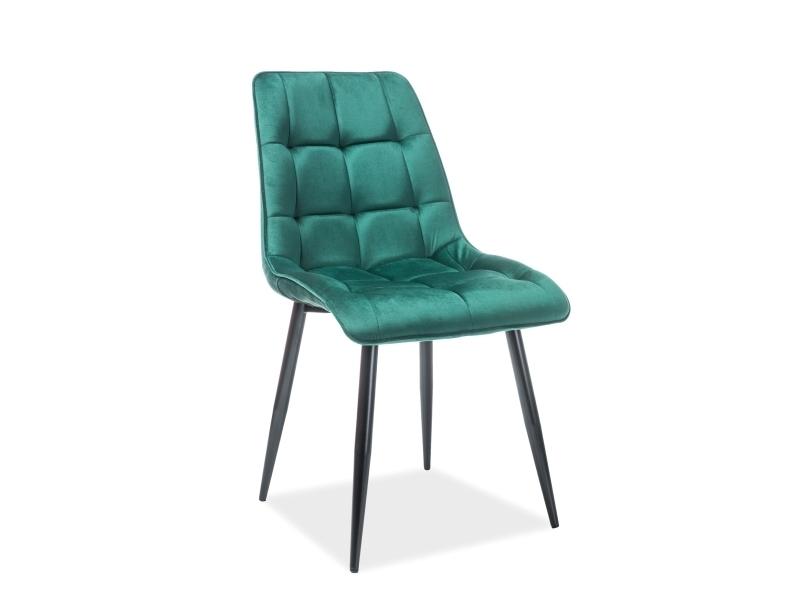 Scaun tapitat cu stofa si picioare metalice Chic Velvet Verde inchis / Negru, l51xA44xH89 cm