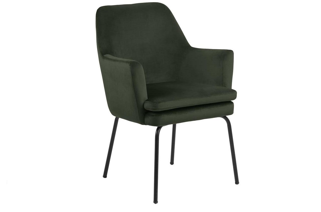 Scaun tapitat cu stofa si picioare metalice Chisa Velvet Verde Inchis / Negru, l61xA61xH85 cm