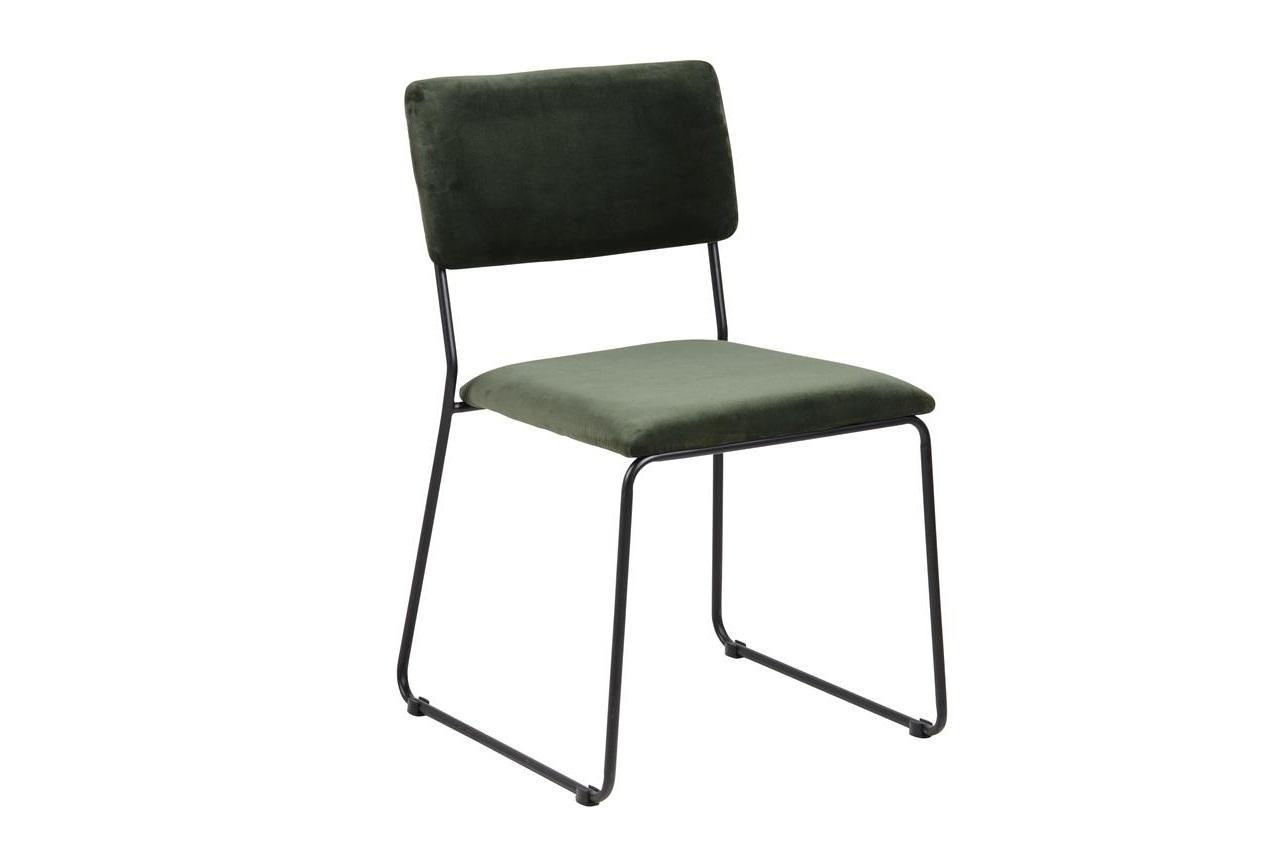 Scaun tapitat cu stofa si picioare metalice Cornelia Velvet Verde / Negru, l50xA53,5xH80 cm
