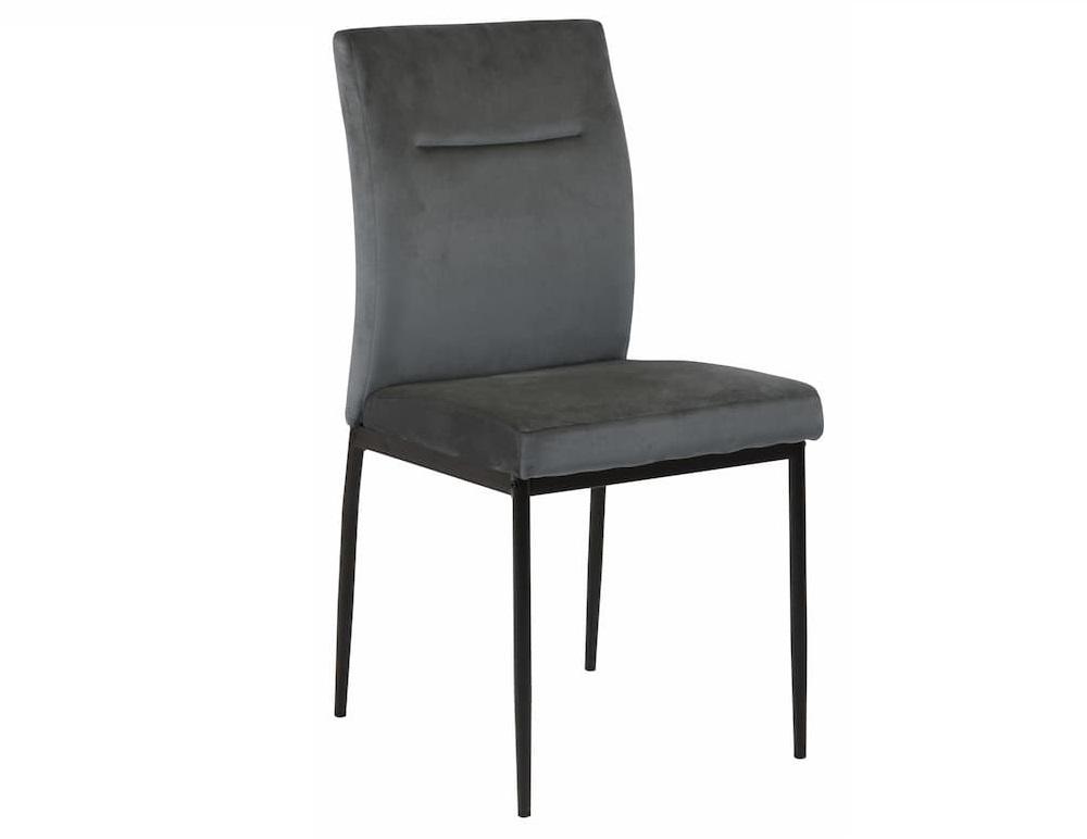 Scaun tapitat cu stofa si picioare metalice Demi Gri inchis / Negru, l45,5xA54,5xH90 cm
