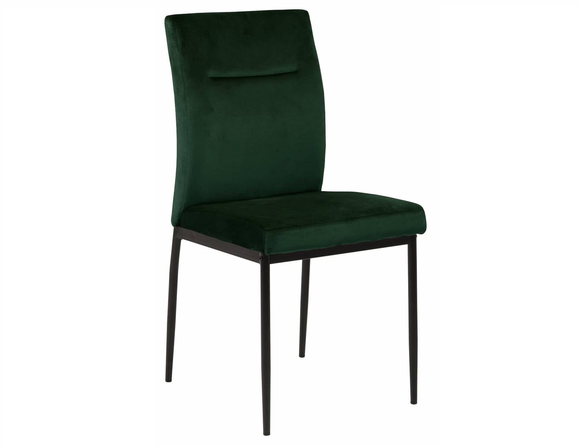 Scaun tapitat cu stofa si picioare metalice Demi Verde inchis / Negru, l45xA55xH90,5 cm