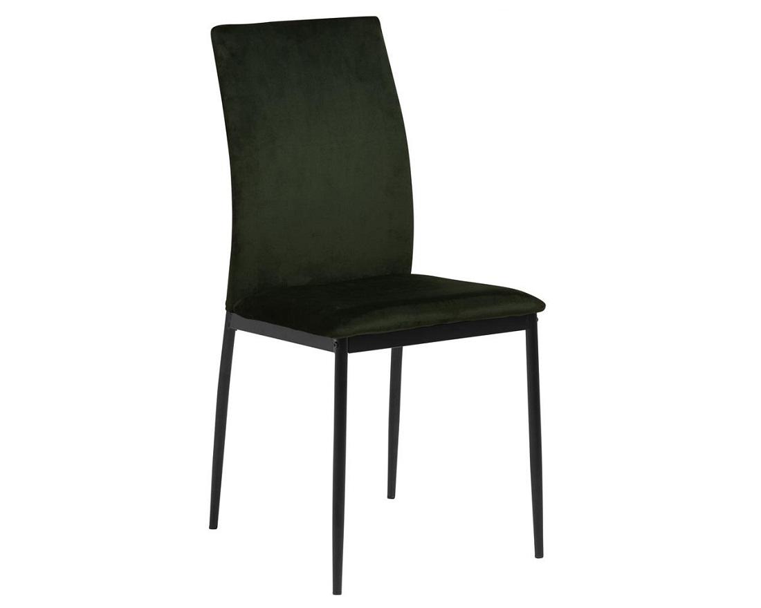 Scaun tapitat cu stofa si picioare metalice Demina Velvet Verde Olive / Negru, l43,5xA53xH92 cm imagine