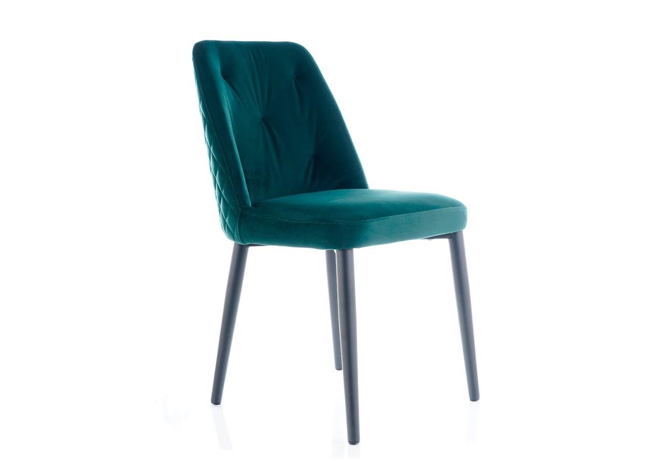 Scaun tapitat cu stofa si picioare metalice Duran Velvet Verde / Negru, l45xA45xH85 cm