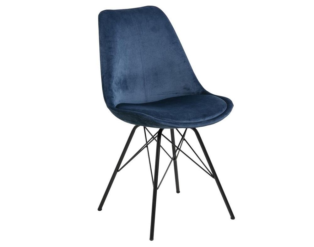 Scaun tapitat cu stofa si picioare metalice Eris Velvet Albastru inchis / Negru, l48,5xA54xH85,5 cm