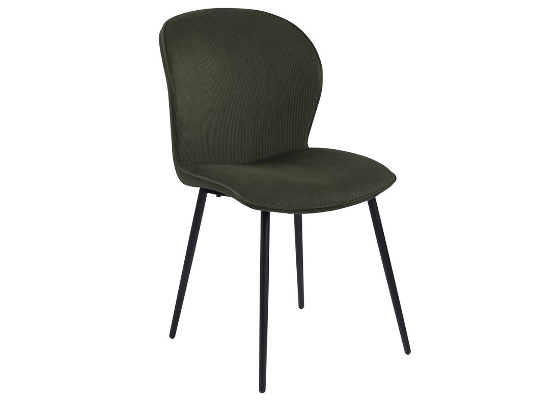 Scaun tapitat cu stofa si picioare metalice Evelyn Verde Olive / Negru, l43,5xA58,5xH82,5 cm somproduct.ro