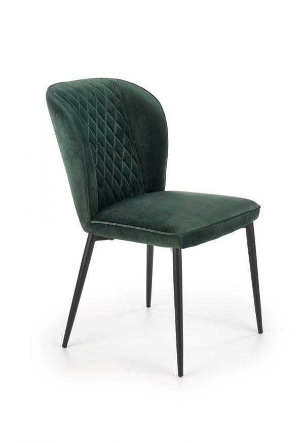 Scaun tapitat cu stofa si picioare metalice K399 Verde inchis / Negru, l50xA60xH84 cm