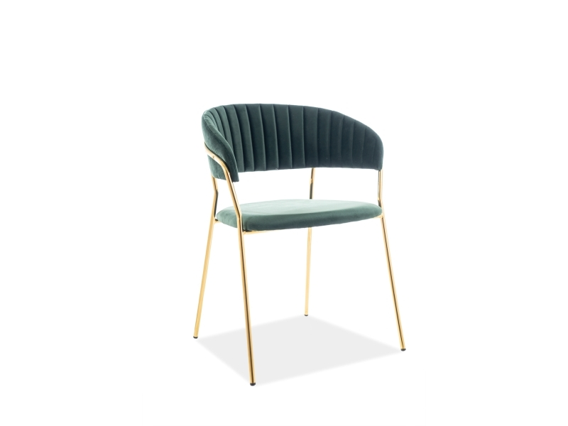 Scaun tapitat cu stofa si picioare metalice Lira Velvet Verde / Auriu, l56xA50xH78 cm poza