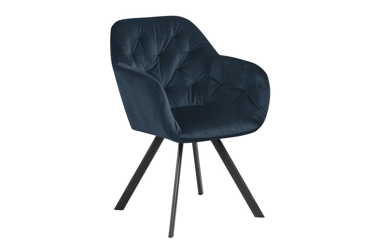 Scaun tapitat cu stofa si picioare metalice Lola Velvet Albastru inchis / Negru, l57,5xA61,5xH81,5 cm