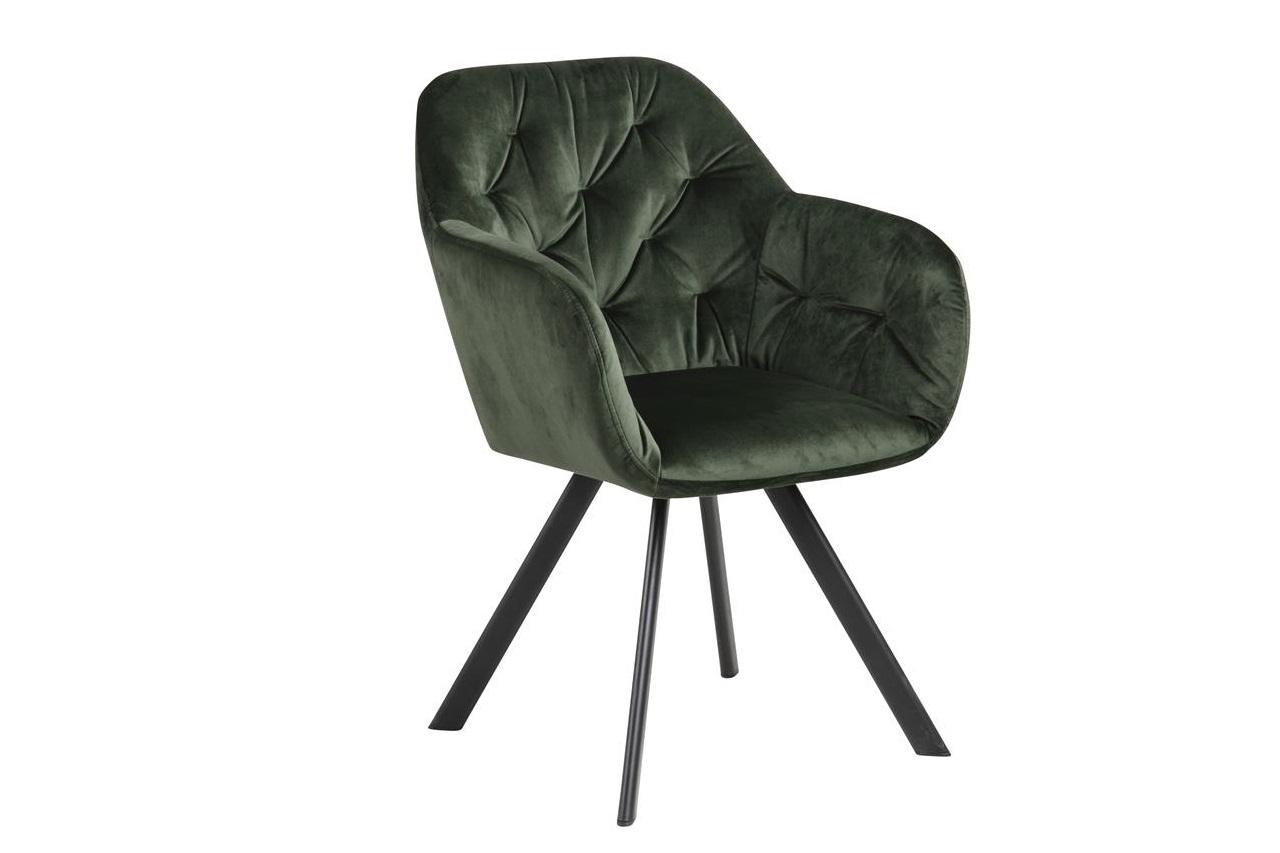 Scaun tapitat cu stofa si picioare metalice Lola Velvet Verde / Negru, l57,5xA61,5xH81,5 cm imagine