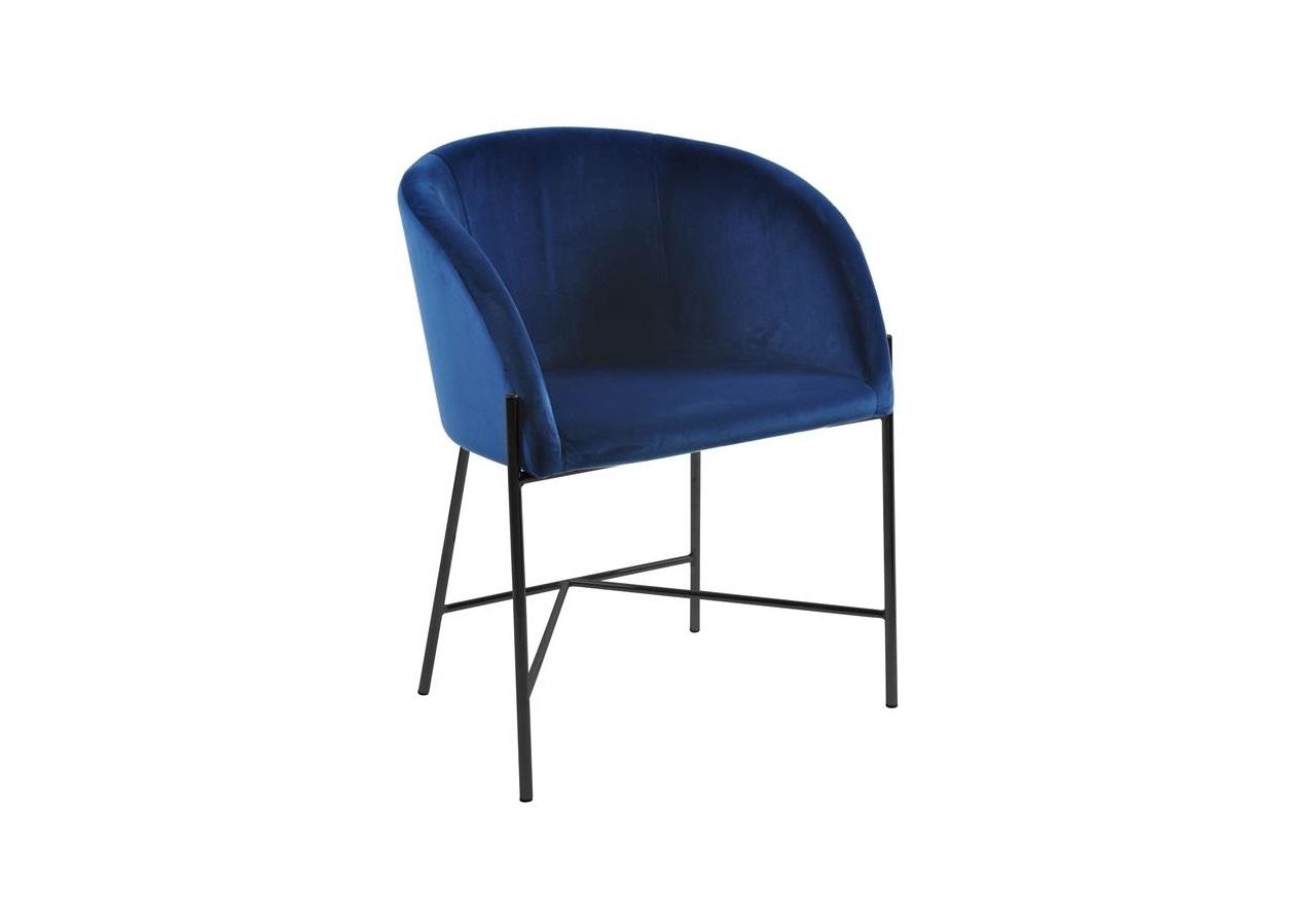 Scaun tapitat cu stofa si picioare metalice Nelson Velvet Albastru Inchis / Negru, l56xA54xH76,5 cm