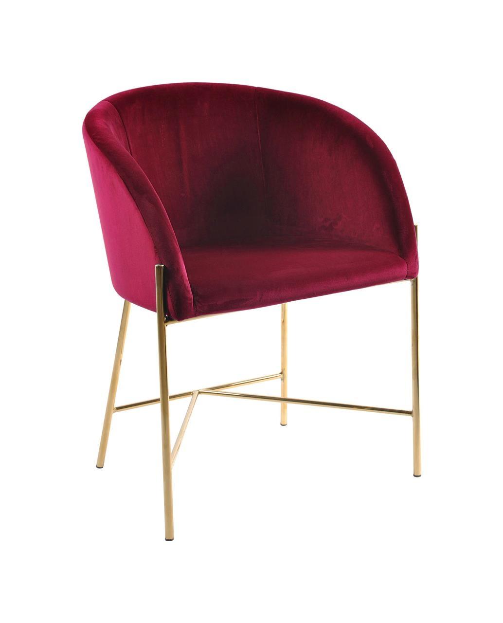 Scaun tapitat cu stofa si picioare metalice Nelson Velvet Bordeaux / Auriu, l56xA54xH76 cm