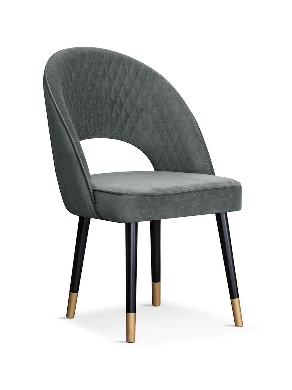 Scaun tapitat cu stofa si picioare metalice Ponte Velvet Gri / Negru / Auriu, l56xA63xH89 cm somproduct.ro