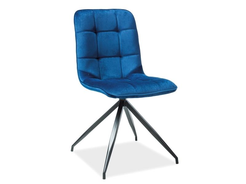Scaun tapitat cu stofa si picioare metalice Texo Velvet Bleumarin / Negru, l45xA42xH87 cm
