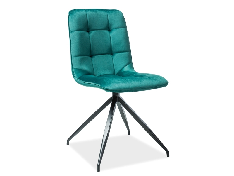 Scaun tapitat cu stofa si picioare metalice Texo Velvet Verde / Negru, l45xA42xH87 cm