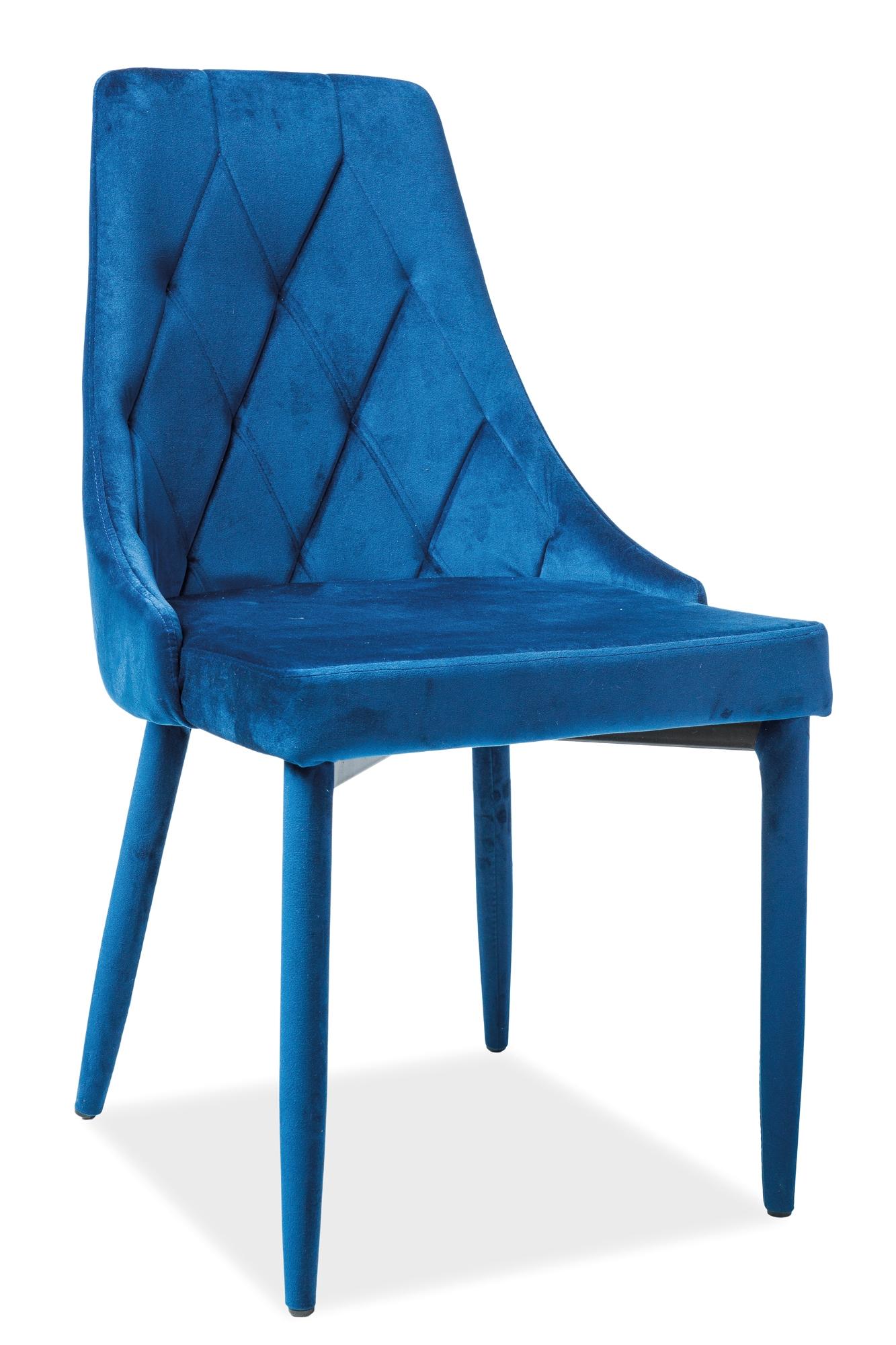 Scaun tapitat cu stofa si picioare metalice Trix Velvet Bleumarin, l46xA46xH88 cm
