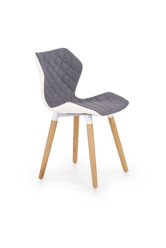 Scaun tapitat cu stofa si piele ecologica, cu picioare din lemn K277 Grey / White, l48xA51xH76 cm imagine