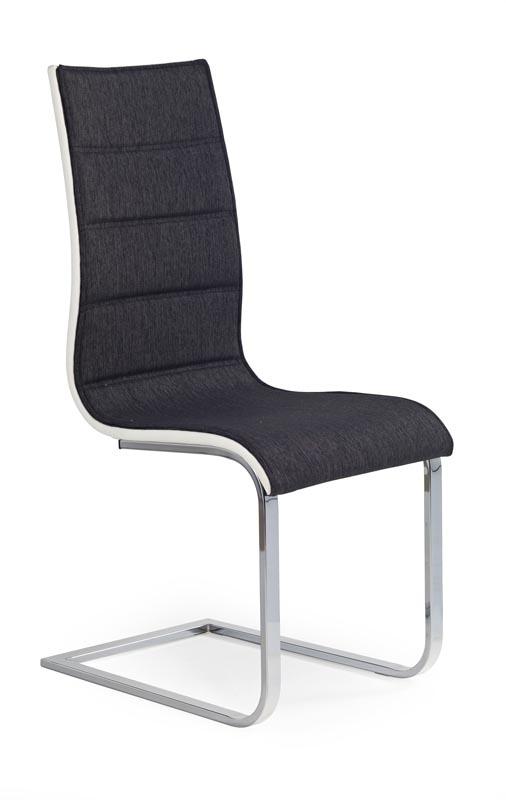 Scaun tapitat cu stofa si piele ecologica, cu picioare metalice K105 Graphite, l42xA56xH99 cm imagine
