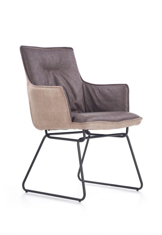 Scaun tapitat cu stofa si piele ecologica, cu picioare metalice K271 Dark Grey / Light Grey, l57xA64xH89 cm