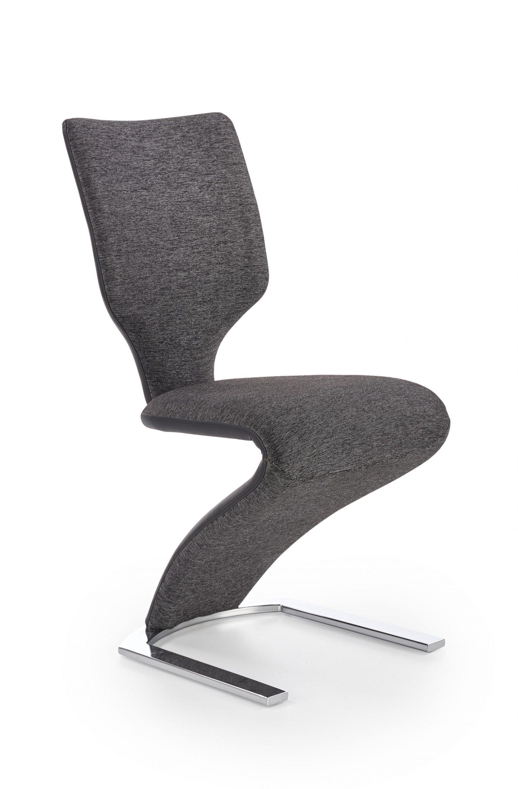 Scaun tapitat cu stofa si piele ecologica, cu picioare metalice K307 Gri inchis / Negru l46xA62xH95 cm imagine