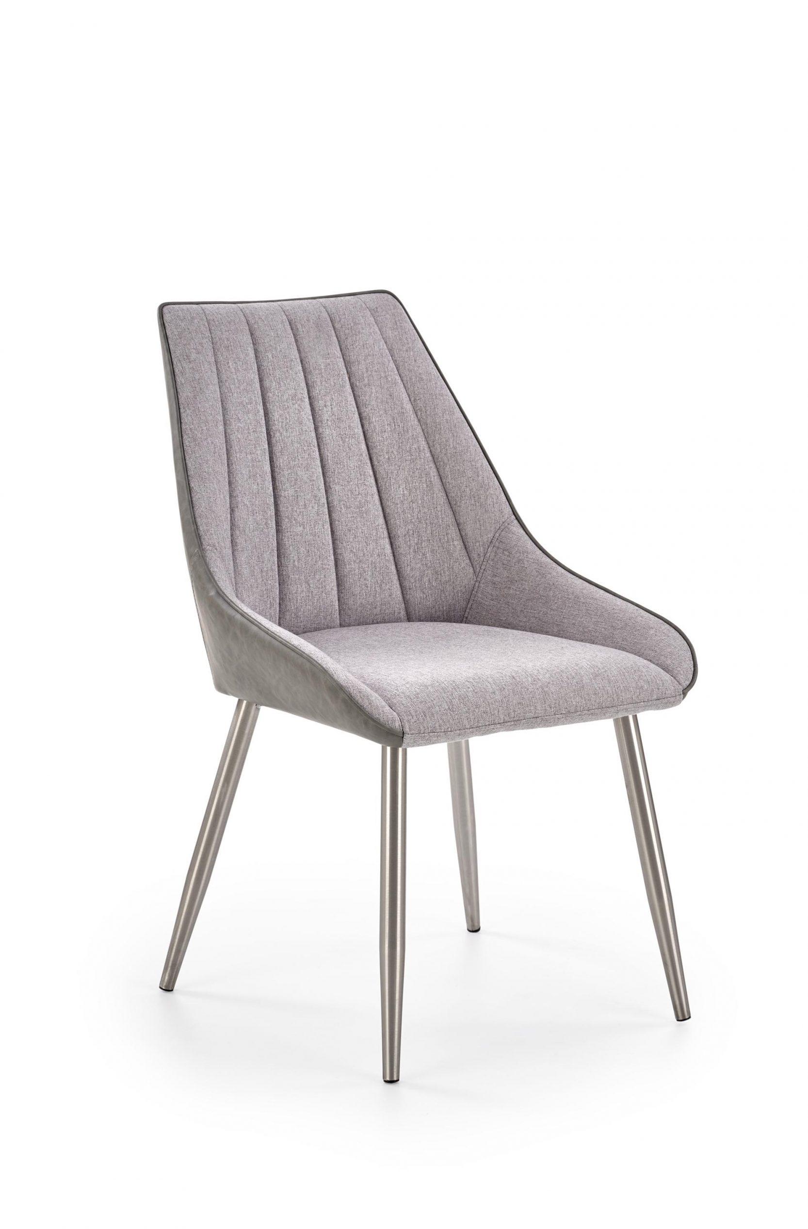 Scaun tapitat cu stofa si piele ecologica, cu picioare metalice K311 Gri inchis / Gri deschis, l54xA57xH88 cm imagine