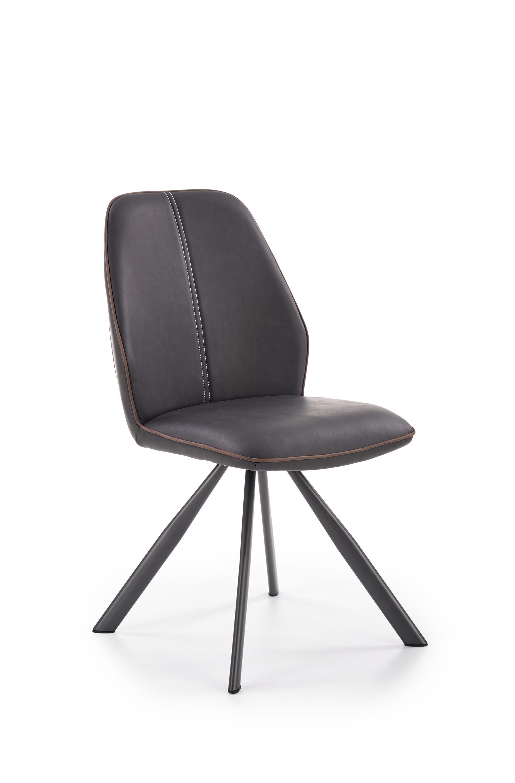 Scaun tapitat cu stofa si piele ecologica, cu picioare metalice K319 Maro / Negru, l48xA56xH88 cm