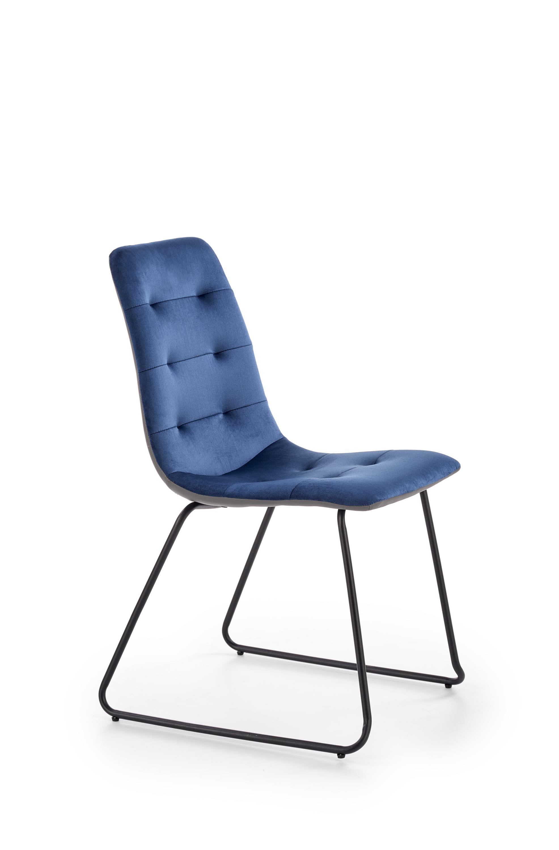 Scaun tapitat cu stofa si piele ecologica, cu picioare metalice K321 Albastru inchis / Gri, l45xA55x