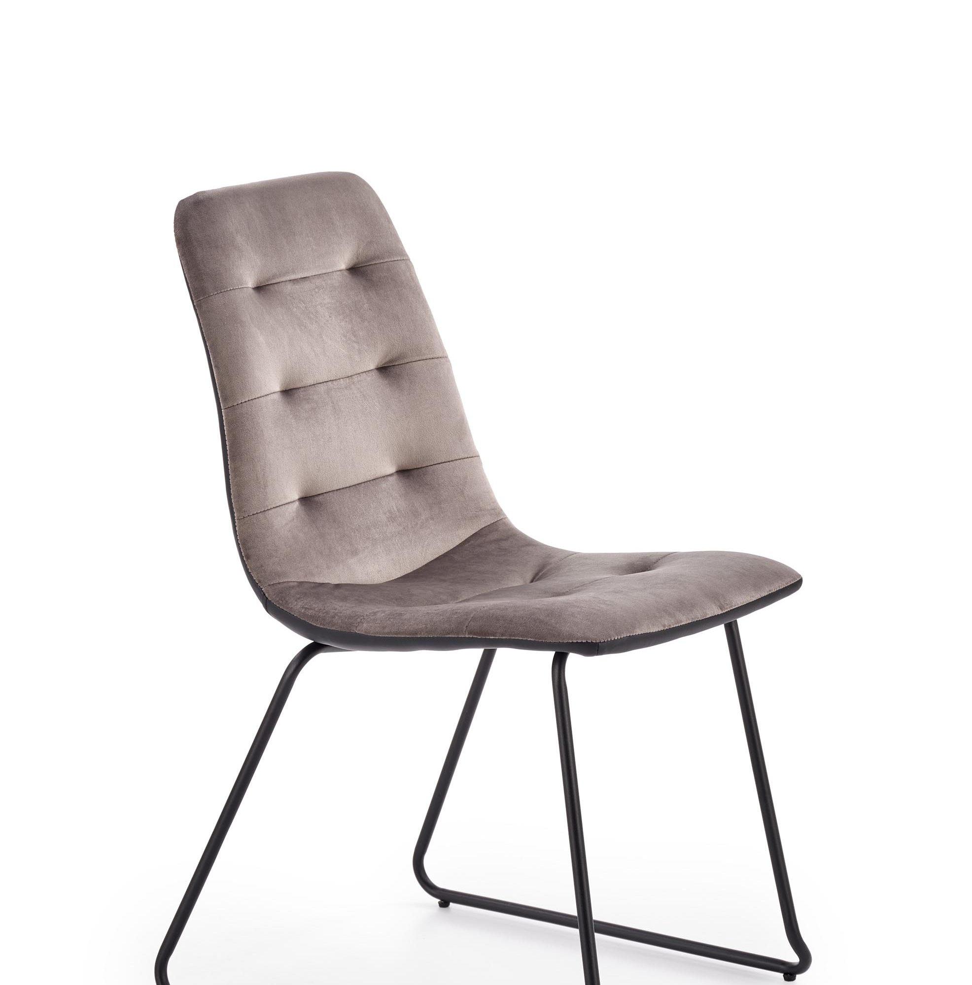 Scaun tapitat cu stofa si piele ecologica, cu picioare metalice K321 Gri / Negru, l45xA55xH84 cm