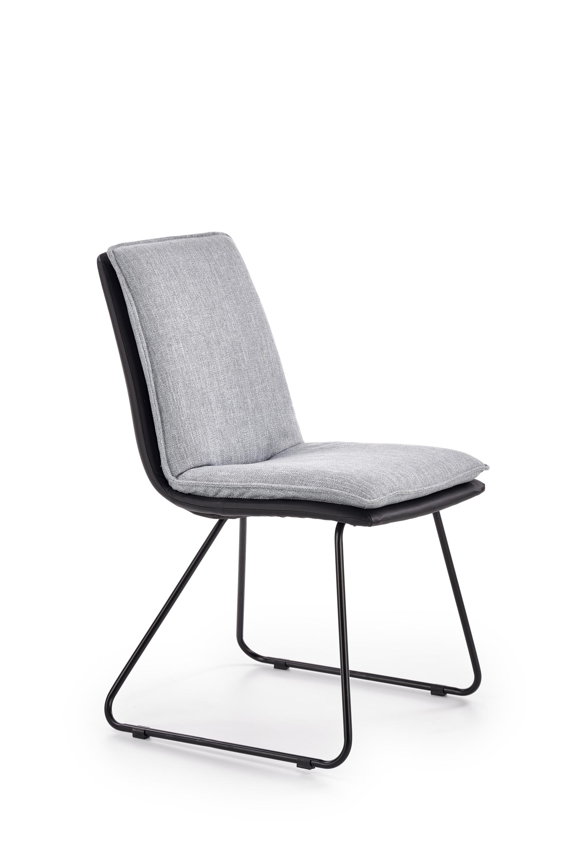 Scaun tapitat cu stofa si piele ecologica, cu picioare metalice K326 Gri deschis / Negru, l49xA55xH85 cm