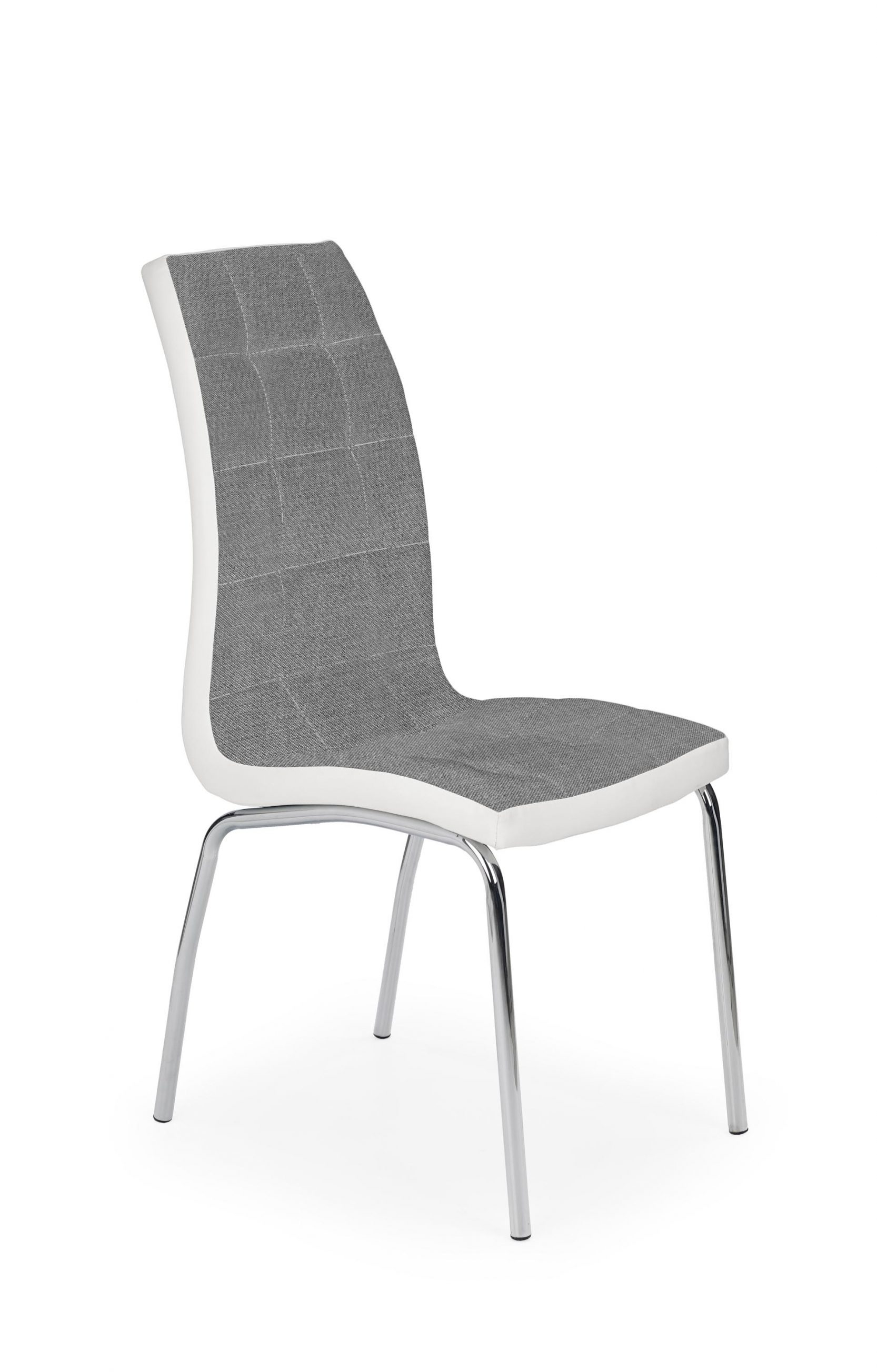 Scaun tapitat cu stofa si piele ecologica, cu picioare metalice K347 Gri / Alb, l42xA63xH96 cm