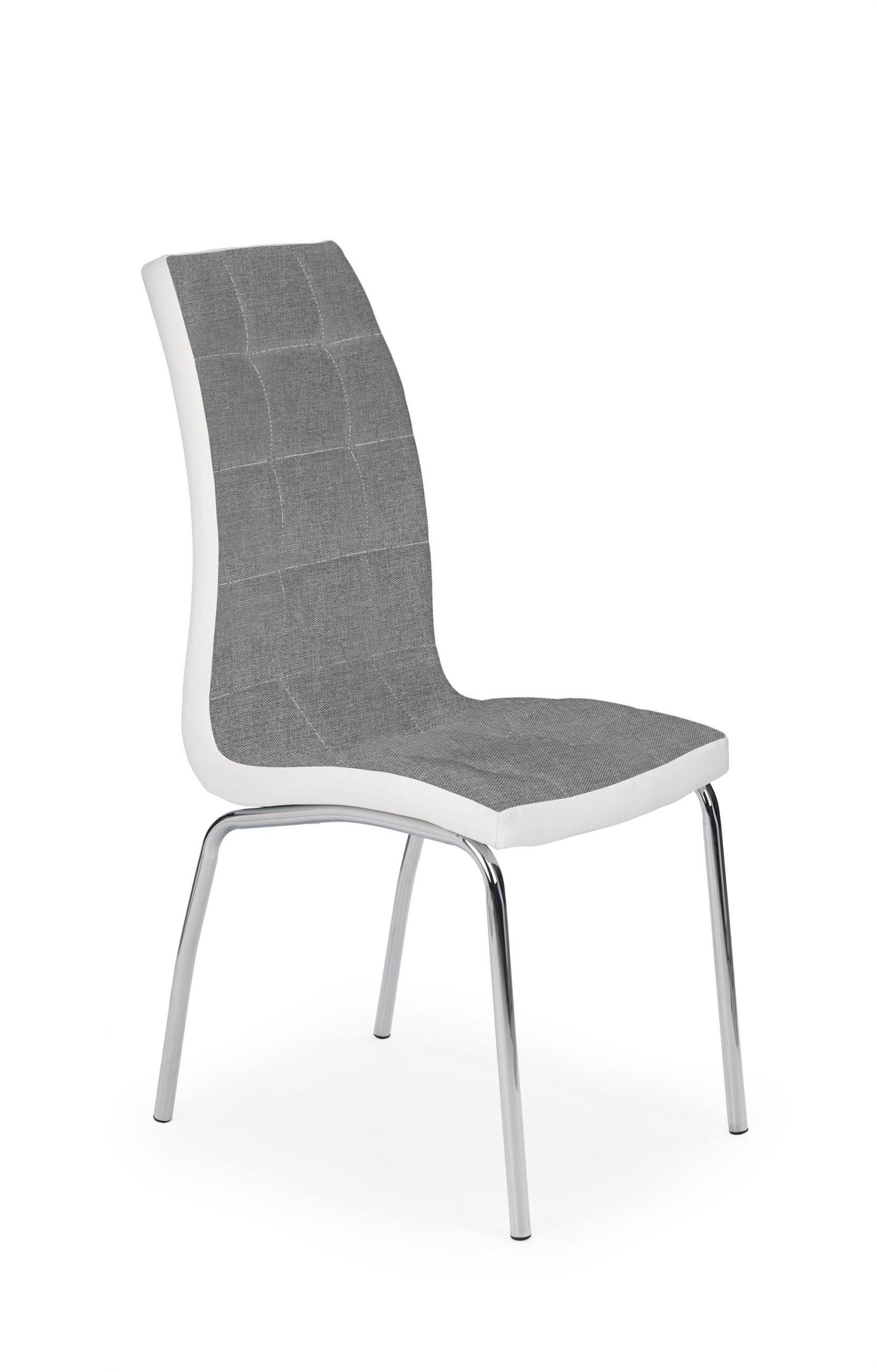 Scaun tapitat cu stofa si piele ecologica, cu picioare metalice K347 Gri / Alb, l42xA63xH96 cm somproduct.ro